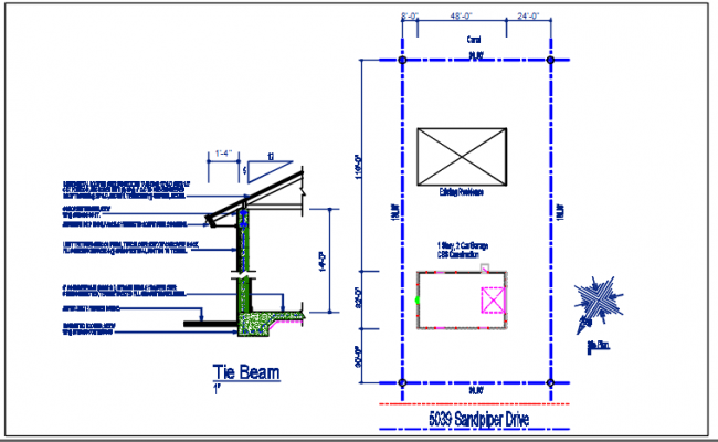 Tie beam plan section view detail dwg file