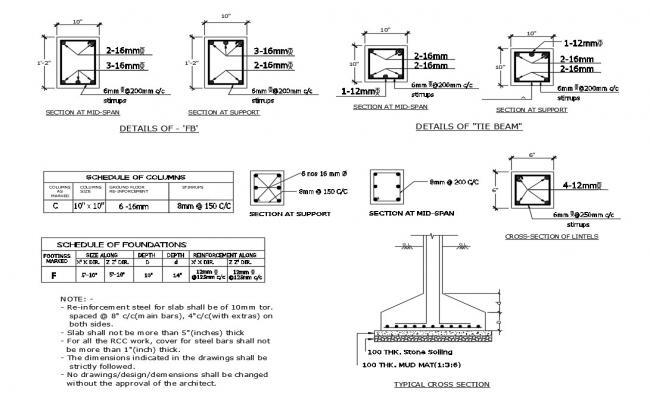 Tile beam foundation, schedule and structure details dwg file