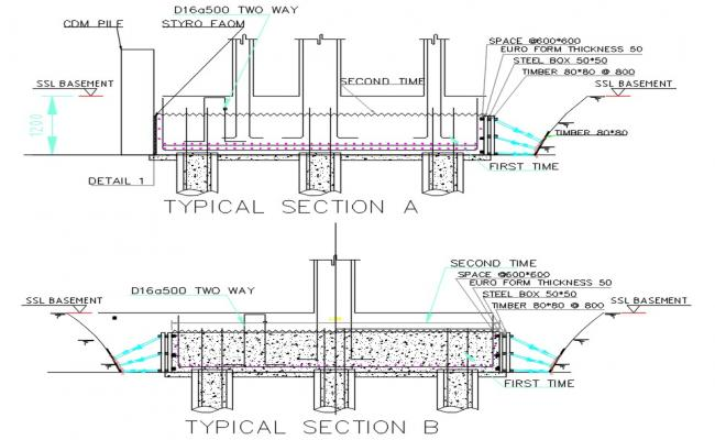 Timber Concrete Section Plan DWG File