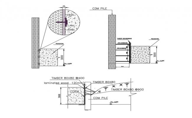 Timber Concrete Section View DWG File