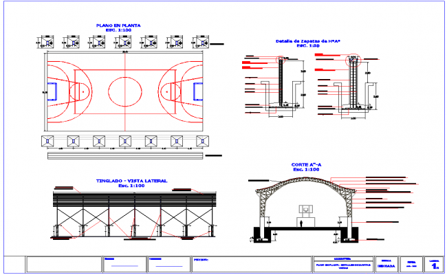 Tinglado design and architecture detail in dwg cad files