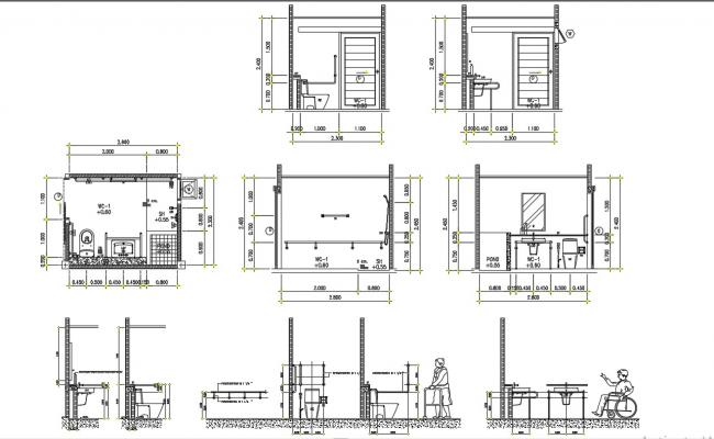 Toilet Details Working Drawing DWG File Free Download