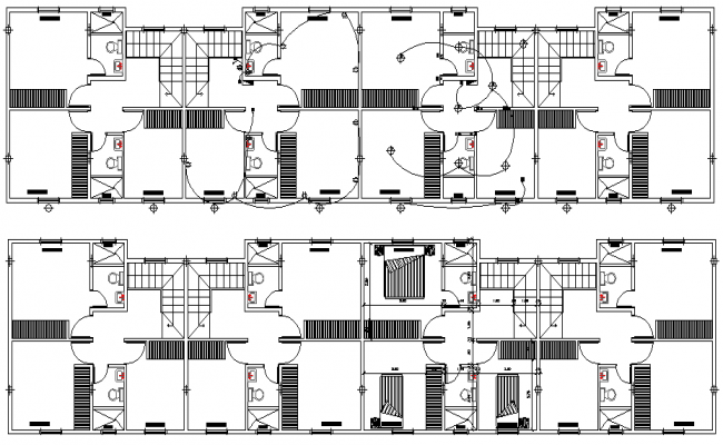 Toilet Plan of Multi Family Housing Project dwg file