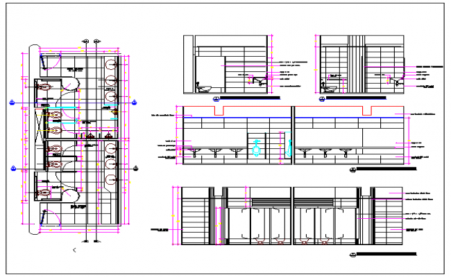 Toilet Plan of Multi flooring Club House dwg file