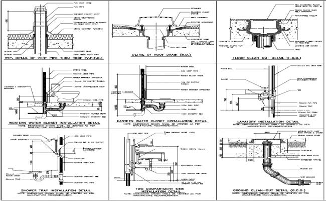 Toilet Water Closet Installation plan