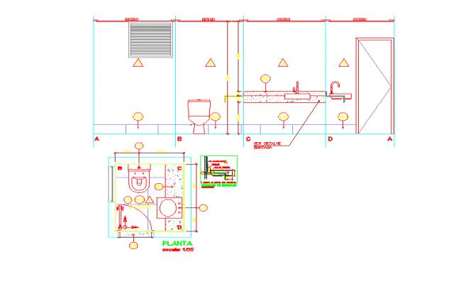 Toilet block floor plans & Elevation design
