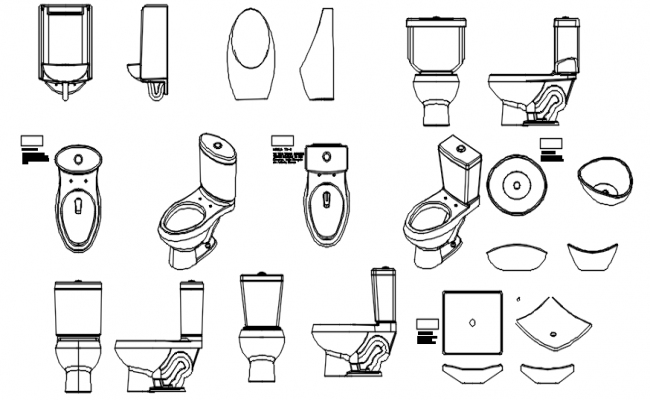 Toilet blocks in dwg file