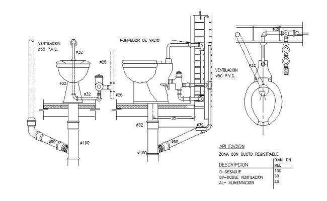 Toilet connection, installation and plumbing details dwg file