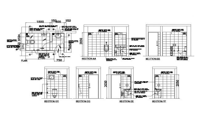 Toilet detail plan in autocad