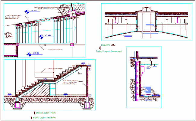 Toilet layout front and section view with stair detail for multipurpose room of turkey dwg file