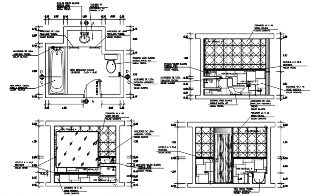 Toilet layout with elevations in autocad