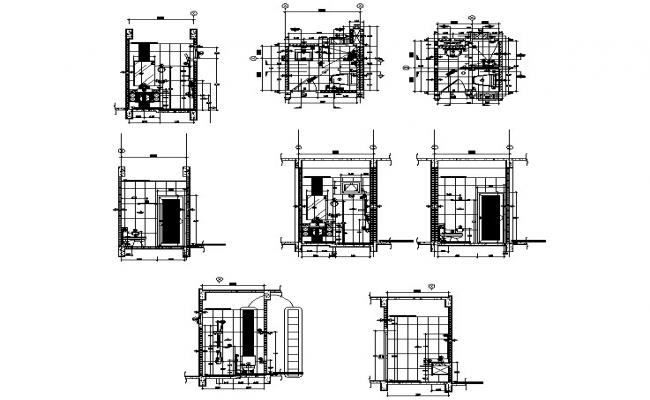 Toilet layout with sections in dwg file