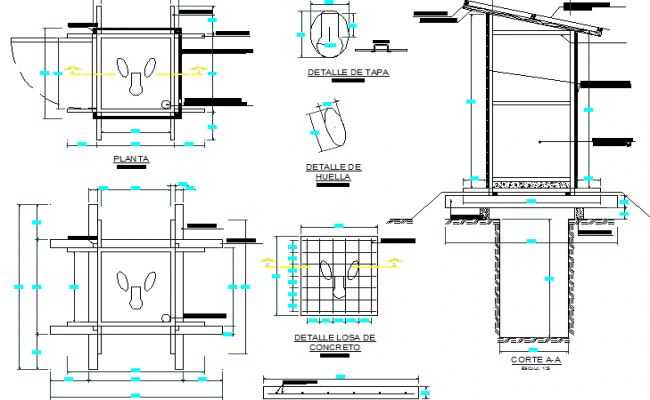 Toilet of house constructive details dwg file