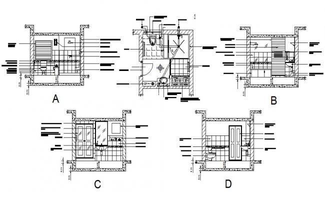 Toilet of house section, installation and plumbing details dwg file