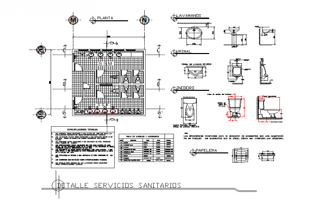 Toilet plan, elevation and section working detail dwg file