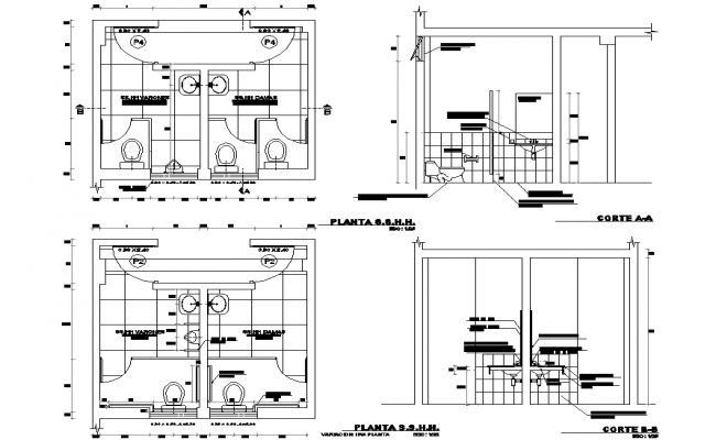 Toilet plan and section detail dwg file