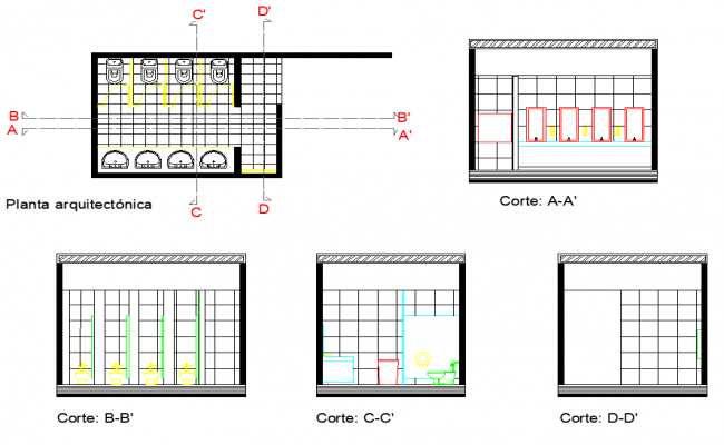 Toilet plan and section dwg file