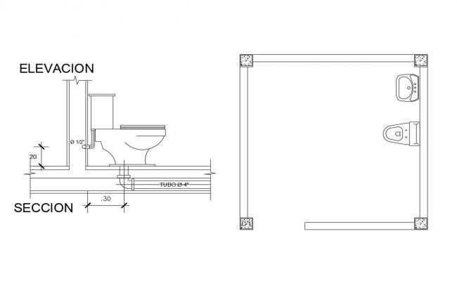 Toilet sheet installation elevation, section and bathroom details dwg file
