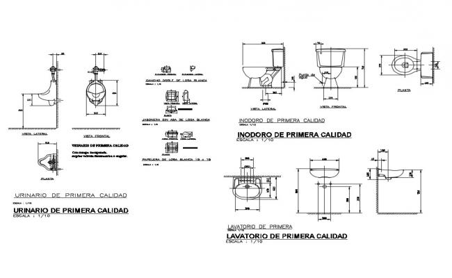Toilet sheet section, installation and plumbing structure details dwg file