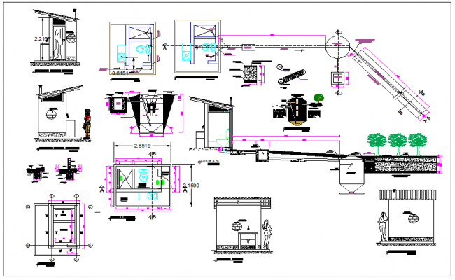 Toilet view in detail dwg file