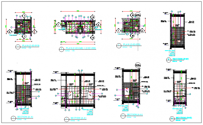 Toilets room planning elevation section plan dwg file