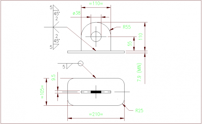 Tolerance view with mechanical part of lifting lug dwg file