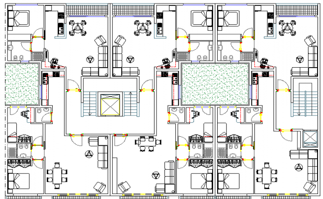 Top View of Bungalow Design and Elevation dwg file