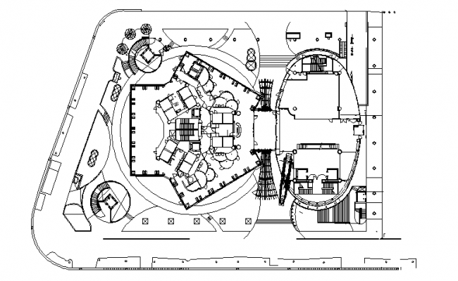 Layout plan of Corporate Building dwg file