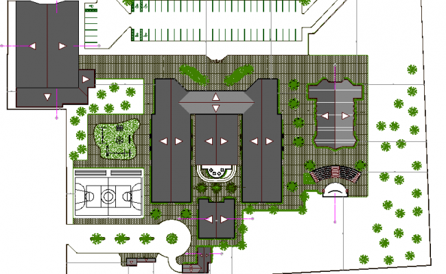 Top View Of Garden Design School Elevation Dwg File