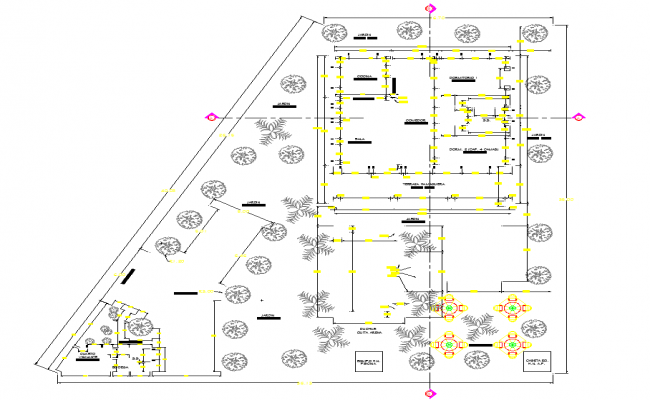 Top View of Villa Project dwg file