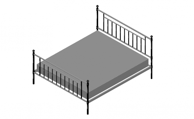 Top elevation of a double bed