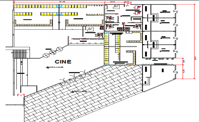 Top floor layout plan details of shopping mall dwg file