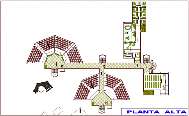 Top floor plan of education center dwg file