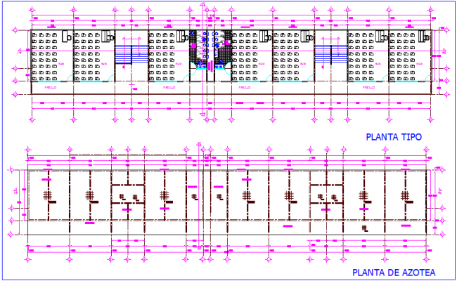 Top plan and roof plan of school dwg file