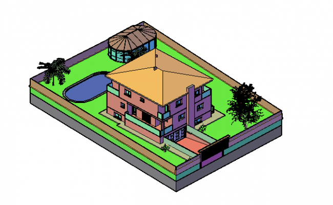 Top view elevation of bungalow