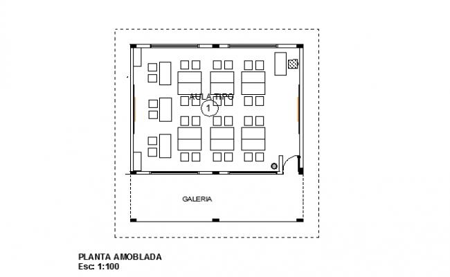 Top view layout plan of av room
