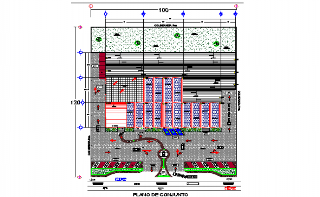 Top view layout plan of car parking dwg file