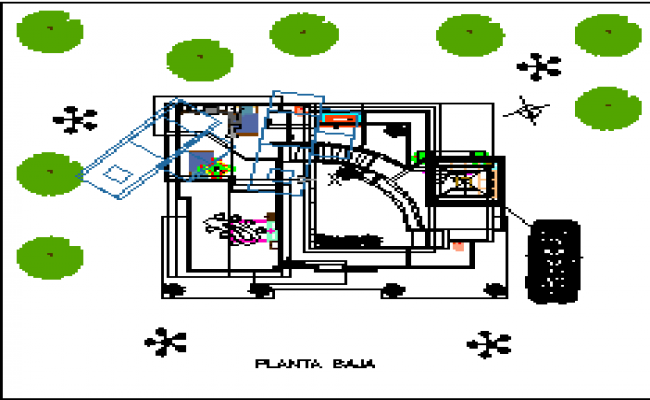 Top view layout plan of residence