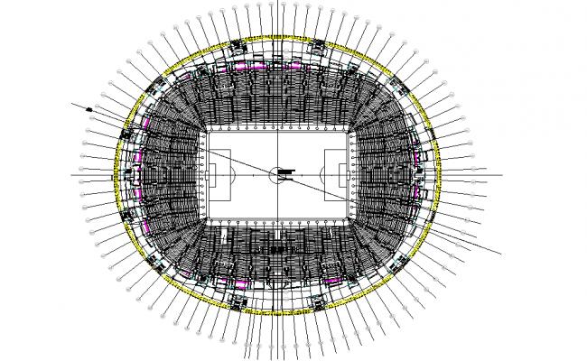 Top view layout plan of stadium