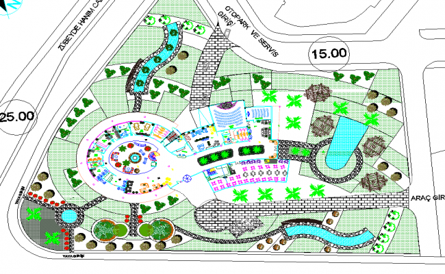 Top view of resort layout plan for Hotel design layout