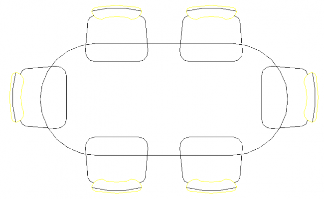 Top view of a table and chair dwg file