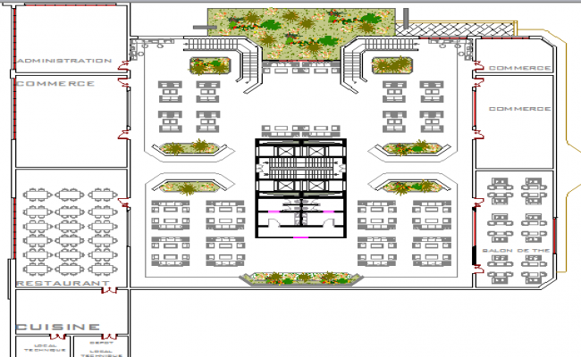 Tour-ecologic center architecture layout plan details dwg file