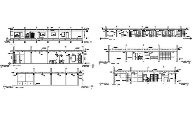 Tourist hotel all sided elevation details with doors and windows car pantry dwg file