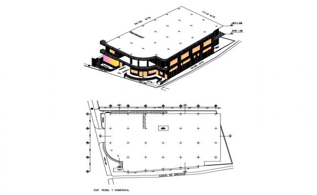 Tourist hotel building 3d drawing with roof plan cad drawing details dwg file
