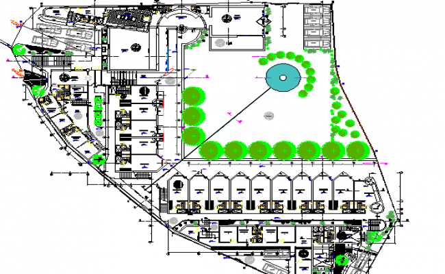 Tourist hotel site plan and landscaping details dwg file