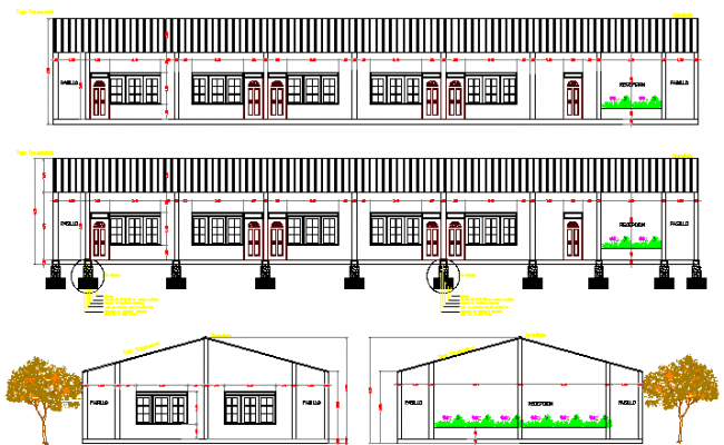 Tourist hotel with roof main elevation and sectional details dwg file