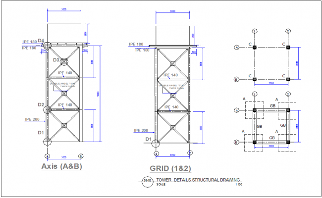 Tower detail structure design dwg file