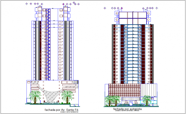 Tower different axis elevation with architectural view dwg file