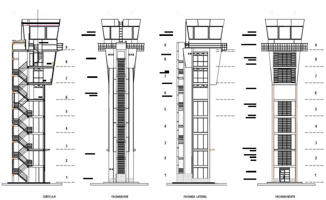 Tower elevation and section with detail dimension in autocad