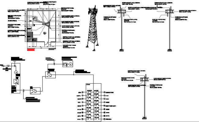 Tower installation full architecture project dwg file